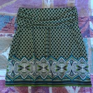 Studio M Green & Black Flared Mini Skirt
